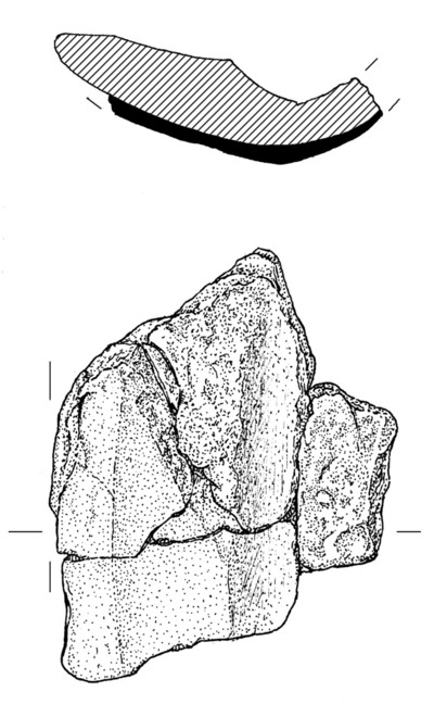 Clay mould of spearhead fragment from Dun Aonghasa, find no. 1779a.