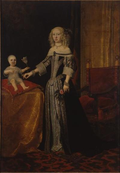 Herzogin Elisabeth Amalie Magdalena von Hessen-Darmstadt mit ihrer ältesten Tochter Eleonora Magdalena Theresia