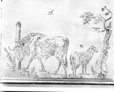 Glasplatte mit Figuren von Ochse und Schaf in einer Landschaft