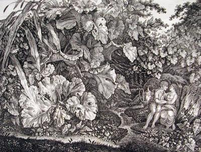 Liebespaar in einer Grotte, umgeben von Pflanzen und Kräutern