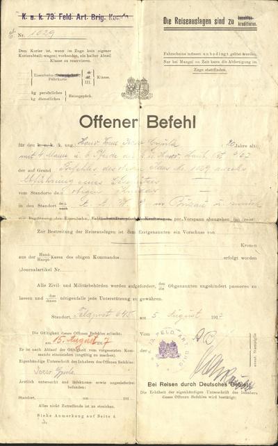 Rozkaz presunúť vojakov a kone do Buzau
