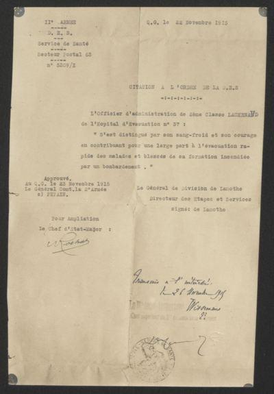 FRBDIC_39 Citation pour services rendus en 1915 d'Henri Lachenaud