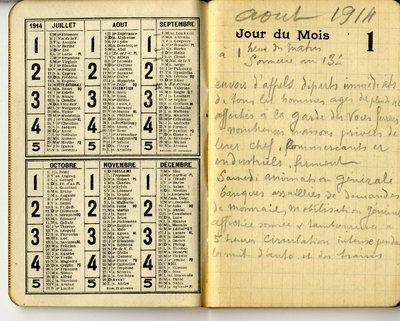 FRB - Carnet de notes manuscrites, Nevers, août 1914