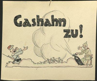 Karikatur Gashahn zu!