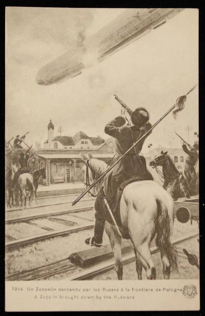 Postkarte Zeppelin wird von Russen abgeschossen