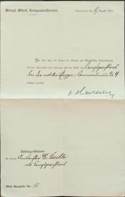 Ehrenurkunden für den Kriegsgerichtsrat Dr. Hermann Steidle