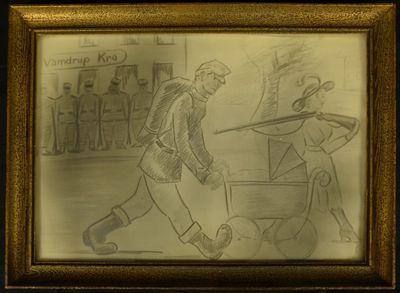Blyantstegning af familien Olesen