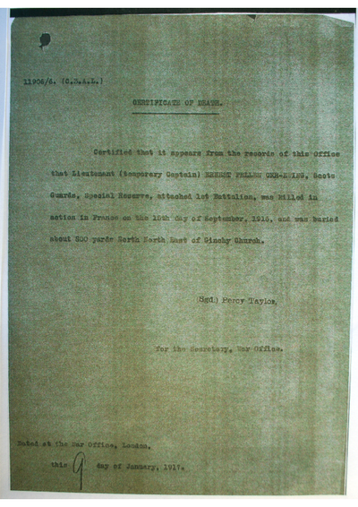 Captain Ernest Pellew Orr-Ewing; The Army Council express their sympathy