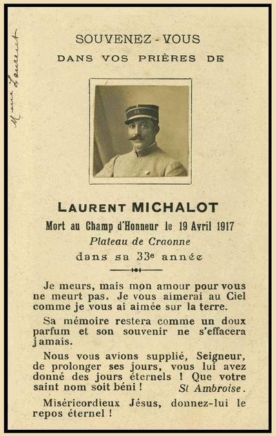 Biographie de Laurent MICHALOT, mort pour la France