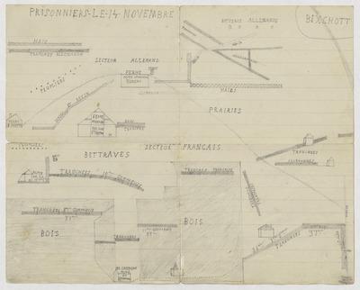 03 - Feuille avec croquis de la bataille de Bixschoote où mon grand-père, Fernand Boyon, a été fait prisonnier le 14 novembre 1914