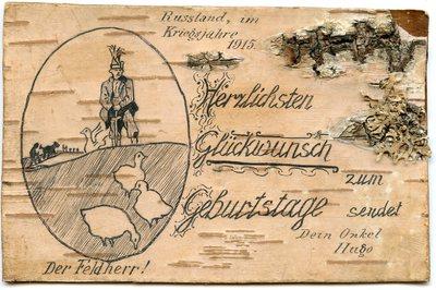 Geburtstagsgrüße auf Birkenrinde aus Russland 1915