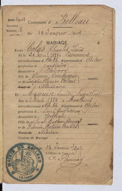 FRBNBU-016 Charles Colas, mort pour la France en 1916