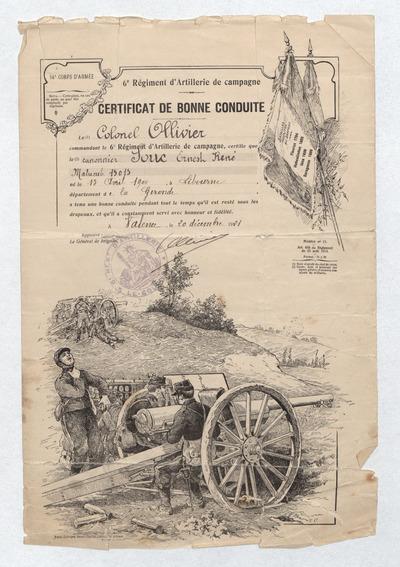 01 Ernest René Souc. Certificat de bonne conduite