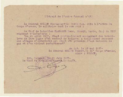 FRBNSA-124 Histoire du lieutenant-colonel René de Mascarel de La Corbière