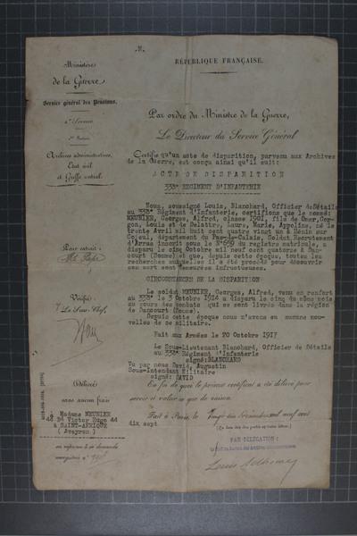 FRAD062_009 - Georges Meunier, mort pour la France, 1914.