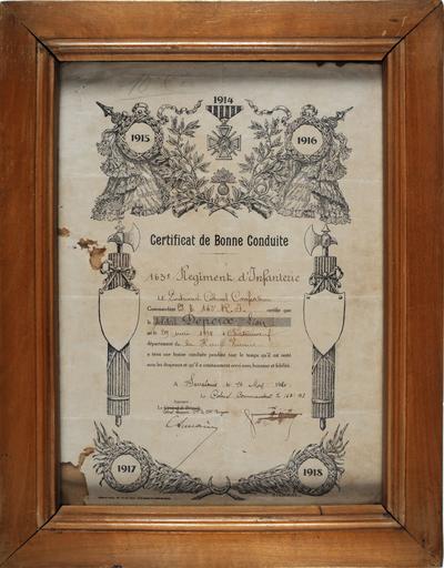 FRAD087_051-Certificat de bonne conduite décerné à Léon Depeix