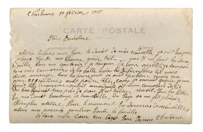 Verso d'une carte postale adressée par Antoine Chaboy à sa femme Ernestine