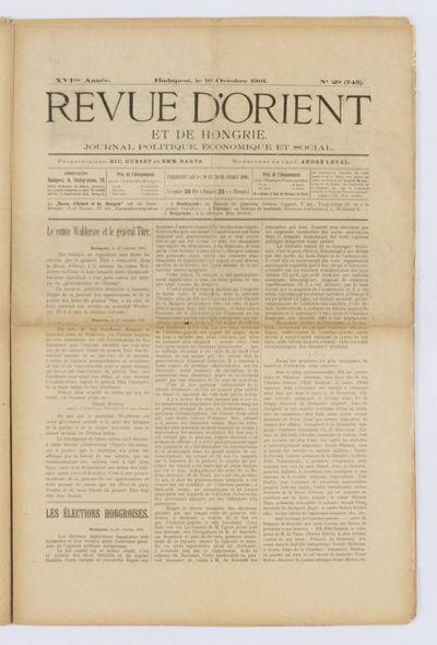 La Revue d'Orient et de Hongrie. Journal politique, économique et culturel...