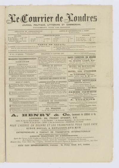 Le Courrier de Londres [puis et de l'Europe ; Courrier (Le) de Londres]. Journal politique, littéraire et commercial