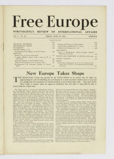 Free Europe. Fortnightly review of international affairs