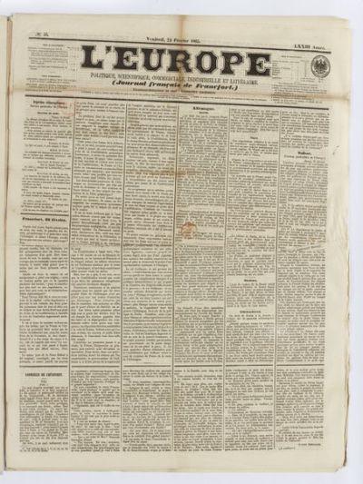 L'Europe. Politique, scientifique, commerciale, industrielle et littéraire. Journal français de Francfort