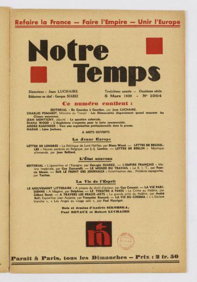 Notre temps : paraît chaque mois / directeur Jean Luchaire ; rédacteur en chef Jacques Chabannes