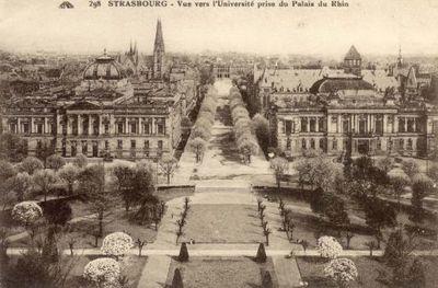 Strasbourg : Vue de l'Université prise du Palais du Rhin