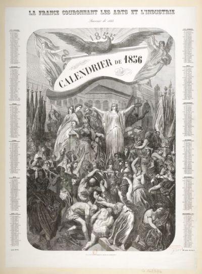 La France couronnant les arts et l'industrie. Souvenir de 1855. Calendrier de 1856 ([Tiré à part]) / G. Doré ; Dumont sc.