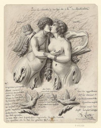 Pour la chambre à coucher de Mme de Montholon ; Amour ; Amitié : [dessin] / Le Queu