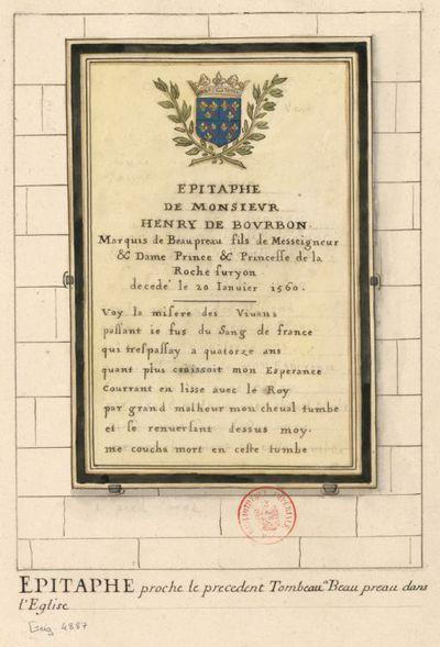 [Tableau scellé à un mur sur lequel sont peintes les armes de Bourbon La Roche-sur-Yon] : [dessin]