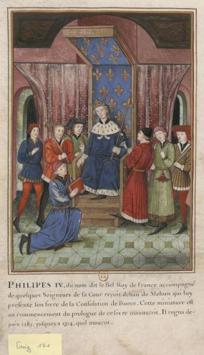[Miniature d'un manuscrit du XVe siècle, représentant un roi assis sous un dais fleurdelisé, environné de seigneurs et d'officiers. Devant lui un homme à genoux lui remet un livre] : [dessin]