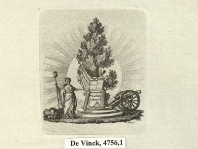 [La République montrant les Droits de l'homme, appuyés contre un arbre] : [estampe] / A. Cardon s.