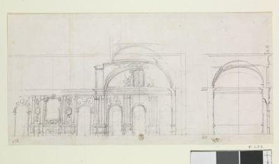 [Schleissheim : coupe transversale du salon ovale et de la galerie à l'extrémité Sud du corps de logis pour le second projet ?] : [dessin]