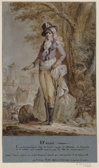 D'Elbée : l'un des principaux chefs de l'armée royale et catholique des brigands de la Vendée, pris et fusillé après la prise de l'Isle de Noirmontier... : [dessin] / C. Fachot...