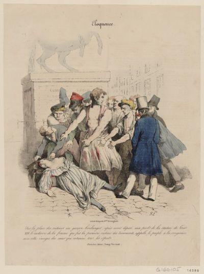Sur la place des Victoires un garçon boulanger, après avoir déposé aux pieds de la statue de Louis XIV le cadavre de la femme qui fut la première victime des évènements, appelle le peuple à la vengeance avec cette énergie du coeur qui entraîne tous les esprits : [estampe]
