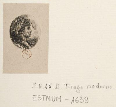 [Profil à droite d'une jeune femme à la plume blanche] : [estampe] / [Jean-Pierre Norblin de la Gourdaine]