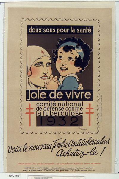 Deux sous pour la santé. Joie de vivre. Comité nationale de défense contre la tuberculose 1932 : Voici le nouveau timbre antituberculeux. Achetez-le : [affiche] / René Vincent