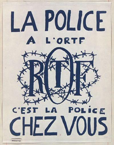 [Mai 1968]. La police à l'O.R.T.F. c'est la police chez vous (sigle O.R.T.F. en fil de fer barbelé) : [affiche] (Réédition de l'affiche?) / [non identifié]