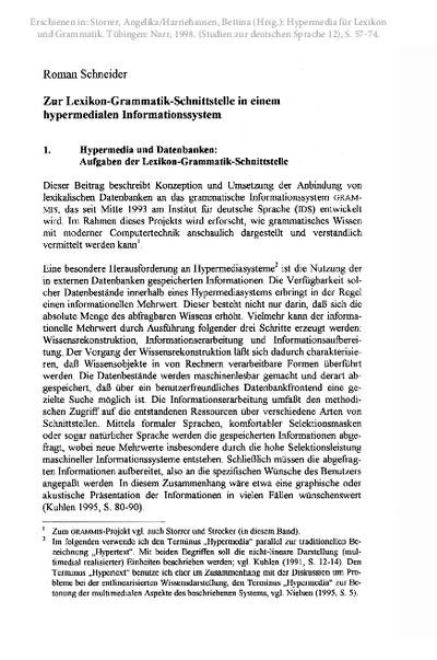 Zur Lexikon-Grammatik-Schnittstelle in einem hypermedialen Informationssystem