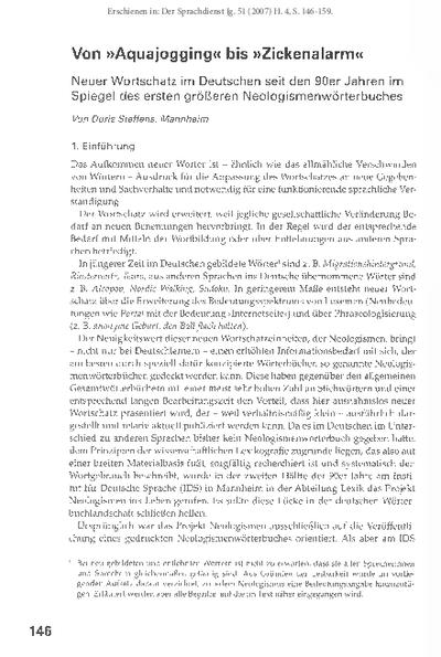 Von Aquajogging bis Zickenalarm. Neuer Wortschatz im Deutschen seit den 90er Jahren im Spiegel des ersten größeren Neologismenwörterbuches