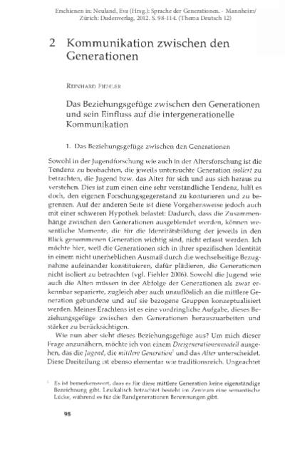 Das Beziehungsgefüge zwischen den Generationen und sein Einfluss auf die intergenerationelle Kommunikation