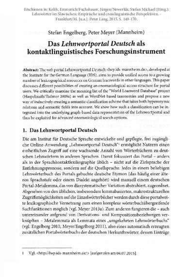 Das Lehnwortportal Deutsch als kontaktlinguistisches Forschungsinstrument
