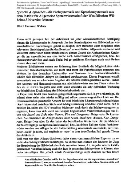 Sprache & Sprachen – die Fachsystematik und Sprachensystematik aus dem Institut für Allgemeine Sprachwissenschaft der Westfälischen Wilhelms-Universitat Münster
