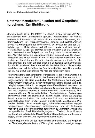 Unternehmenskommunikation und Gesprächsforschung. Zur Einführung