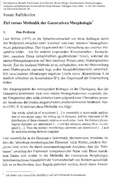 Ziel versus Methodik der Generativen Morphologie