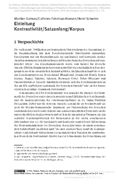 Einleitung: Kontrastivität/Satzanfang/Korpus