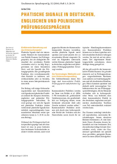 Phatische Signale in deutschen, englischen und polnischen Prüfungsgesprächen