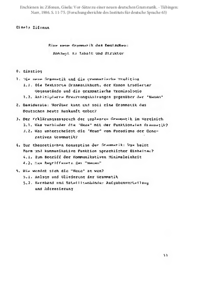 Eine neue Grammatik des Deutschen. Konzept zu Inhalt und Struktur