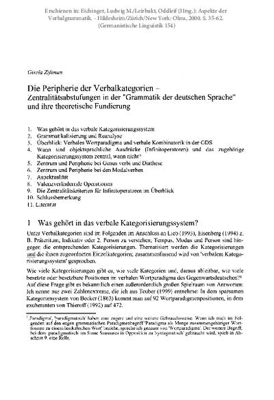 Die Peripherie der Verbalkategorien - Zentralitätsabstufungen in der Grammatik der deutschen Sprache und ihre theoretische Fundierung