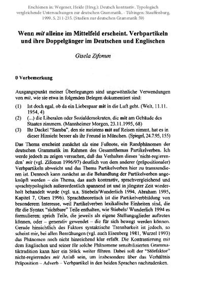 Wenn mit alleine im Mittelfeld erscheint: Verbpartikeln und ihre Doppelgänger im Deutschen und Englischen